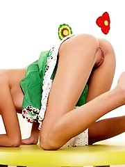 Super Slim Brunette Girlfriend Shows Her Best Assets While Posing In Playroom. Eye Catching Beauty W