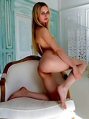 This Sexy Blonde Teen Reflects The Sunlight Off Her Pale White Skin And Her Tight Pussy Is Sparkling