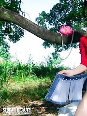 Delicious Teen With A Basket Of Apples Undressing And Demonstrating Sexy Body On The Nature.