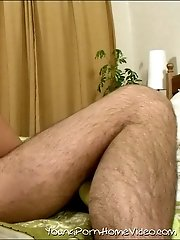 Filthy whore moves her legs apart in front of stiff horny cock.
