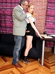Dirty old bastard teacher abusing his position of trust with naughty Oksana