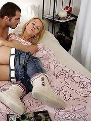 Sexy blonde virgin fucks with her neighbour.