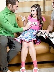 Olivia does a great job pleasing two lustful men.