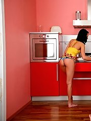 Gal banged in the kitchen