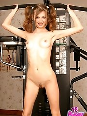 Seductive Juliette does her morning exercises all naked, fleshes her cock-craving cunt and yummy ass.