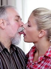 Fucking Elena from behind, this old man has her closing her eyes and moaning with delight.