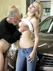 Naughty and kinky Frances makes old goes young boss cum in her mouth