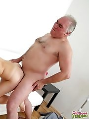 Inna experiences what it's like to have an old dude sucking her tits