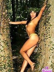 Shy and innocent at home this sexy amateur Chrisy turns into a wild sexy kitten in the woods.