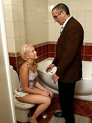 Old pervert drooling all over a fresh young slip of a girl.