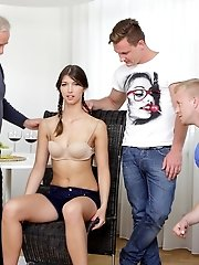 Marisa is trying to resist the urge, but getting fondled by these two guys is tempting her.