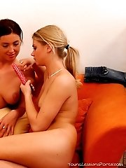 A heavy dose of pink action with two hot teens