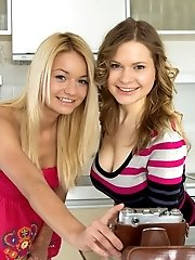 Amazing Blondes Get Down And Dirty In The Kitchen As They Play Around With Their Seductive Toys Of S