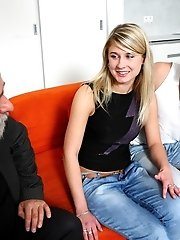 Young blonde Vika gets fucked by an older guy, then both the older guy and her boyfriend at the same time!