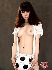 Soccer playing girl takes off her cut-offs and shows her athletic little body.