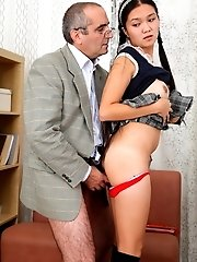 Tricky old teacher gets an Asian student to ride his cock