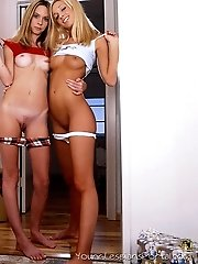Adorable lesbian kittens in sizzling lesbian play