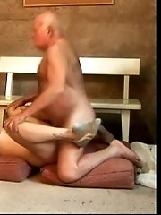 Old fart fucking a horny young blonde babe