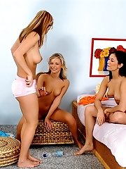 Three young lesbians in a steamy hot sex orgy