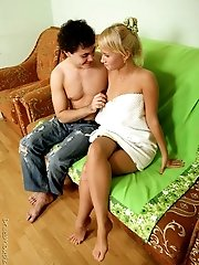 Gorgeous blonde chokes on a hard cock