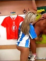 Lesbian soccer threesome in the locker room