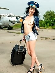 Hot Teen Pilot Strips On The Airstrip Before She Strips Off All Of Her Clothes And Shows Pussy Inste