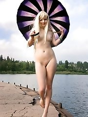 When Nobody Is On The Lake Shore, This Stunning Blonde Takes Advantage Over Natural Beauties As Her