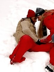 Horny lesbian girlfriends play in the snow
