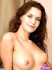 Brunette cutie Daniella exposes her tits and spreads her pussy lips real wide for you.