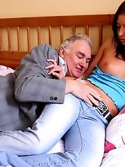 Zarina gets her little boobs cum soaked by both her boyfriend and the older guy