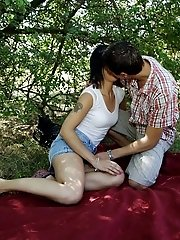 Teen sex in a forest