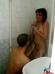 Lecherous lovers get so aroused that start their passionate porn games just in a shower stall.