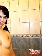 Teen fucking in a shower